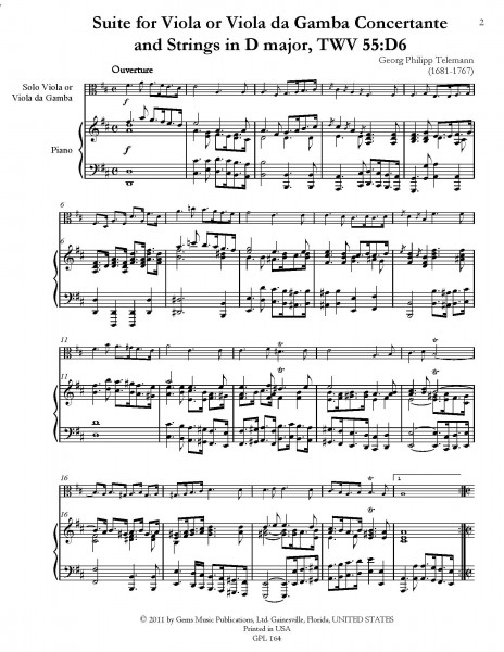 Suite in D major, TWV 55:D6 for Viola or Viola da Gamba Concertante and Strings (piano reduction)