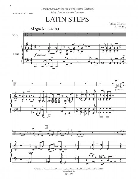 Latin Steps for viola and piano